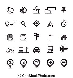 carte, emplacement, icônes