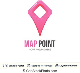 carte, emplacement, pointer.