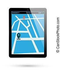 carte, emplacement, tablette