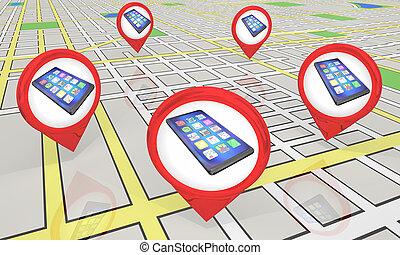 carte, emplacements, illustration, téléphone portable, magasin, epingles, nouveau, intelligent, 3d