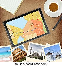 carte, endroits, tablette, célèbre, photos, informatique,...