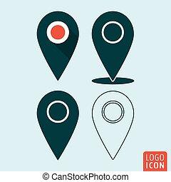carte, ensemble, épingle, symbole, emplacement, icon., indicateur