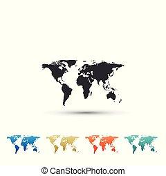 carte, ensemble, coloré, plat, isolé, icons., arrière-plan., vecteur, illustration, mondiale, blanc, icône, éléments, design.