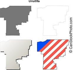 carte, ensemble, contour, comté, orégon, umatilla