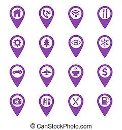 carte, ensemble, emplacement, épingle, icônes