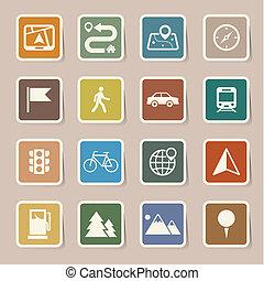 carte, ensemble, emplacement, icônes
