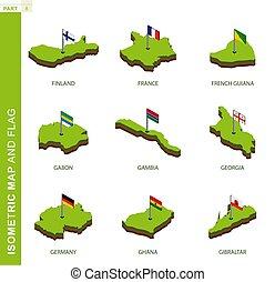 carte, ensemble, forme., isométrique, 3d, vecteur, drapeau, 9