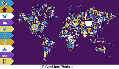 carte, ensemble, gourmet, globe, mondiale, icône