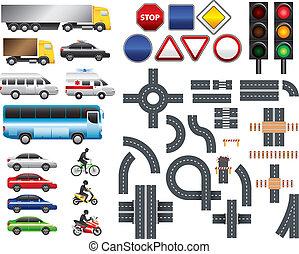 carte, ensemble, grand, valise, vecteur, route