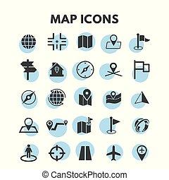 carte, ensemble, icônes