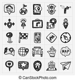 carte, ensemble, icônes, griffonnage, emplacement, gps