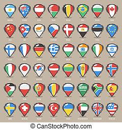 carte, ensemble, indicateurs, etats, drapeaux, mondiale, dessin animé