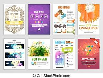 carte, ensemble, infographic, business, aviateur, affiche, résumé, peinture, vecteur, eclabousse, fond, designs., templates., bannière, fond, brochure