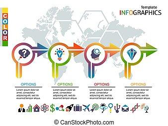 carte, ensemble, infographic, fond, mondiale, template., éléments