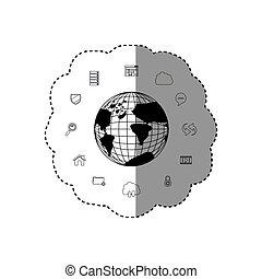 carte, ensemble, silhouette, bureau, autocollant, tecnology, collection, monochrome, la terre, mondiale
