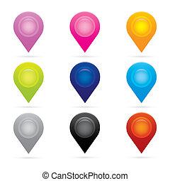 carte, ensemble, symbole, drapeau, emplacement, marqueur, gps, indicateur, icône