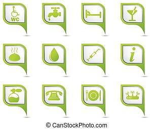 carte, ensemble, vert, indicateur, icônes
