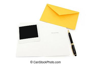 carte, enveloppe, salutation, jaune