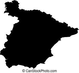 Carte Espagne Noir Et Blanc.Carte Blanc Noir Espagne