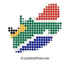 carte, et, drapeau, de, afrique sud