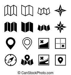 carte, et, emplacement, icônes, blanc, arrière-plan., vecteur