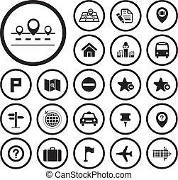 carte, et, emplacement, icônes
