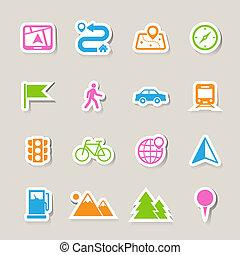 carte, et, emplacement, icônes, ensemble