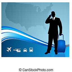 carte, etats, uni, voyageur, business