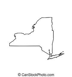 carte, etats-unis, état, new york