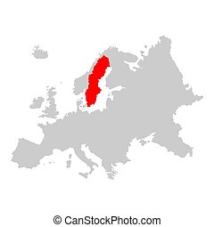 carte, europe, suède