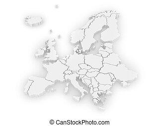 carte, europe., tridimensionnel