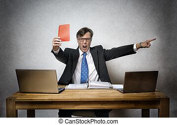 carte, fâché, rouges, homme affaires