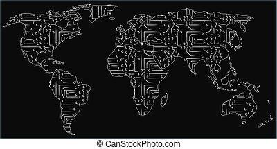 carte, fait, circuits, vecteur, mondiale, puce, électronique