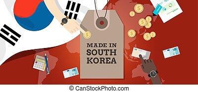 carte, fait, corée, timbre, argent, coût, drapeau, transaction, exportation, tg, mondiale, sud