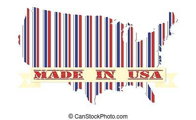 carte, fait, drapeau etats-unis, conception, patriotique, amérique