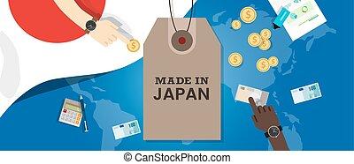 carte, fait, japon, timbre, argent, coût, drapeau, transaction, exportation, tg, mondiale