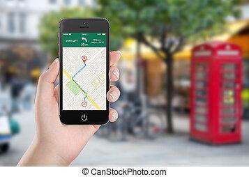 carte, femal, smartphone, écran, application, navigation, gps