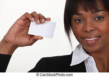 carte, femme affaires, afro-américain, tenue, business