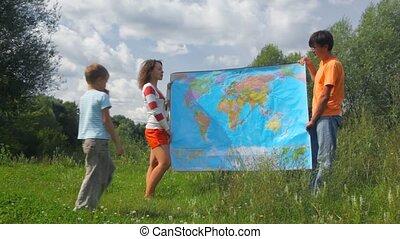 carte, femme, garçon, pays, politique, recherche, parc, été...
