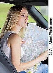 carte, femme, voiture