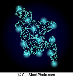 carte, fil, bangladesh, lumière, cadre, taches, polygonal, maille
