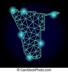 carte, fil, lumière, cadre, taches, polygonal, maille, namibie
