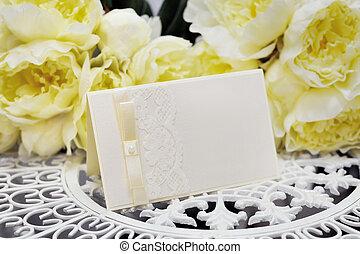 carte, fleurs, fond, jaune, mariage