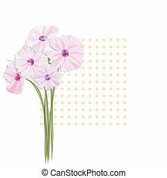 carte, fleurs, salutation, coloré