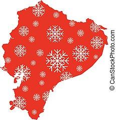 carte, flocons neige, équateur