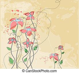 carte, floral