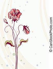 carte, fond, fleurs, salutation, vecteur