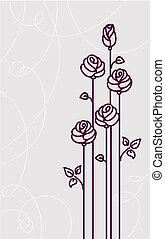 carte, fond, roses, mariage, vecteur, fleur