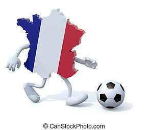 carte, football, francais