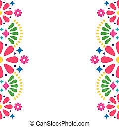 carte, formes, vecteur, ou, folklorique, invitation, conception, fête, coloré, cadre, fleurs, mexicain, résumé, mariage, salutation